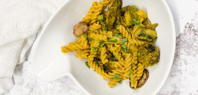 vegetarische pasta met pompoensaus